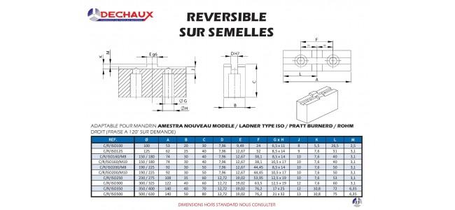 Reversible sur semelles pour mandrins Amestra nouveau modele / Ladner type iso / Pratt burnerd / Rohm